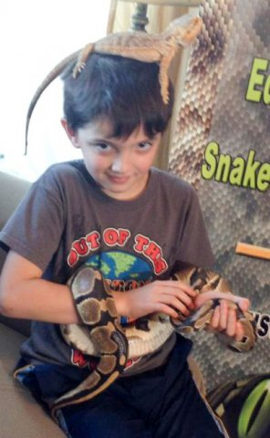 Boy with snakes lizard-1